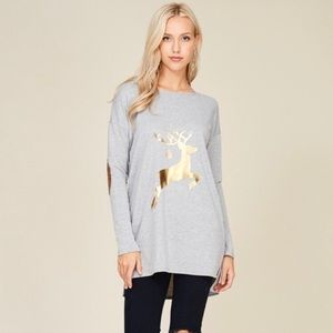 🎄JUST IN Cute Reindeer Top. L/S patches on elbow